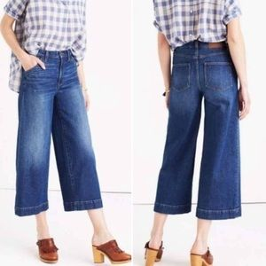 Madewell Blue Wide-Leg Crop Jeans
